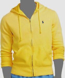 $140 Polo Ralph Lauren Men's Yellow Fleece Zipper Hoodie Logo Sweatshirt Size M