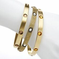 NEW A.V.Max 3-Piece Stone Gold Bangle Set Retails $70