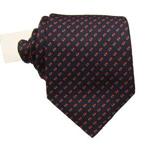 "Brioni Men's Navy/Orange Square Graphic Pattern 3.25"" Silk Tie Made in Italy"