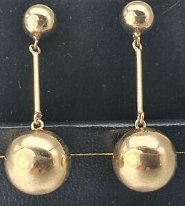 Vintage: 9ct Gold Drop/Dangle Earrings - Superb condition