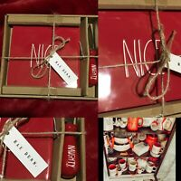 Rae Dunn NAUGHTY & NICE Christmas Red Cheese Board Knife Set Farmhouse New