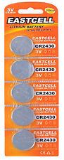 5 x CR2430 3V Lithium Batterie 270 mAh ( 1 Blistercard a 5 Batterien  EASTCELL