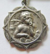 Antique Art Nouveau German Silver Cherub Angel Charm ~ Superb! ~ Init. EJ