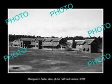 OLD POSTCARD SIZE PHOTO OF MANGALORE INDIA VIEW OF THE RAILROAD STATION c1900