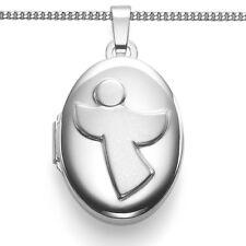 Weißgold 375 Schutzengel Foto Medaillon Amulett 2 Bilder Anhänger + Silber Kette