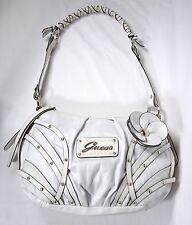 Guess White Shoulder Purse Handbag Flower Accent Braid Handle Leatherette VGC