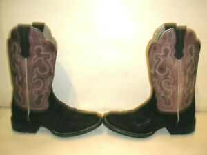 WOMENS ARIAT SQUARE TOE LEATHER WESTERN COWBOY BOOTS SIZE 6.5  6 1/2