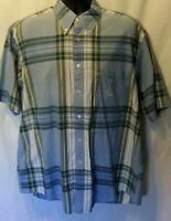 Nautica Mens Shirt Sz L Blue Green Plaid Short Sleeve Button Down Pocket Logo