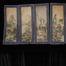 """CHINESE JAPANESE SCROLLS 4 PANELS MOUNTAIN SCENES HAND PAINTED 10 1/2"""" X 28"""" EA"""