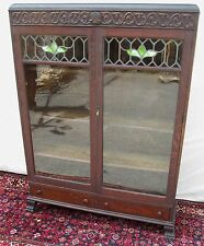 Rare Victorian Oak Stained Glass Door Bookcase With Celtic Symbolic Carvings