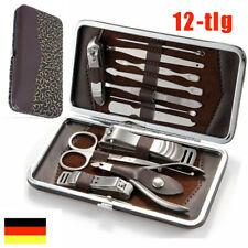 12 tlg Nageletui Nagelpflege Pediküre Maniküre Set Nagelknipser Nagelschere