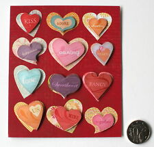 NO 139 Scrapbooking - 12 Doubled Layered Heart Stickers - Scrapbook