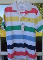 Southern Tide Pima Cotton Rainbow Stripe Skipjack Logo Polo Shirt Medium NWT NEW