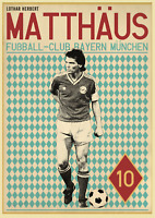 Lothar Matthaus Retro Glossy Art Print 8x10 Inches Bayern Munich Football