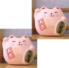 Maneki Neko Feng Shui Lucky pink cat for love x 2 cats