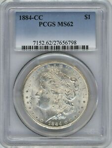 1884-CC PCGS MS-62 MORGAN SILVER DOLLAR ~ PURE WHITE THROUGHOUT ~ 1c START