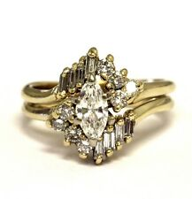 14k yellow gold .84ct I1 H marquise diamond engagement ring wrap jacket 5.2g