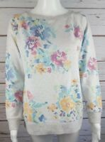 J. Jill Floral XS MISSY Crew Neck Gray Floral Sweatshirt Long Sleeve Cotton