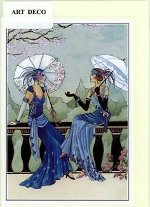 Unique/Nostalgic Art Deco 1920's style hand made greeting card.blank inside.3288