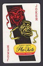 Single Swap Playing Card JOKER Q18 PLA-KOTE HAPPY SAD THEATRE MASKS OLD VINTAGE