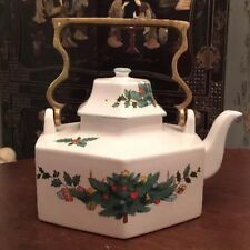 Vintage Mikasa Continental Christmas Brass Handle Hexagonal Teapot With Lid