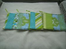 Handmade hot pad potholder hot pad jelly roll random pick blue green floral dots