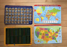 4x Educational Study Mats (Approx. 17.5� X 12�), History, Math and Geography!