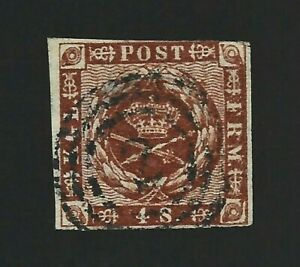 "Schleswig-Holstein/Dänemark Germany Rare Stamp Mi.# 7 Used ""2"" Hamburg 3 ring"