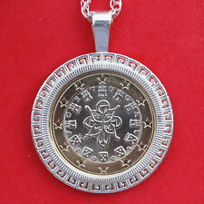 2002 Portugal 1 Euro Unc Coin Sterling Silver Necklace NEW - Royal Seal of 1142