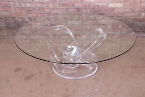 Shlomi Haziza Modern Sculptural Lucite and Glass Cocktail Table, 1980s