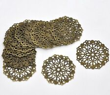5pcs cute bronze tone 1:12 tray Filigree Flower Wraps Connectors 35mm