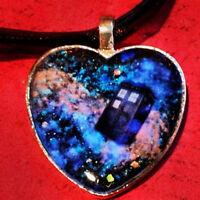 Glow In The Dark Galaxy Nebula Doctor Who Tardis Heart Pendant on Ribbon