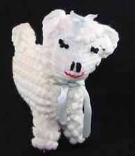 handmade CROCHET PLUSH LAMB SHEEP TOY Mid Century Nursery Keepsake Shabby Chic