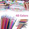 LC_ 48 Couleurs Stylos Encre Gel Paillettes Coloriage Dessin Peinture