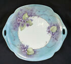 Pickard+China+Made+In+USA+Hand+Painted+Signed+Purple+Flowers+On+Blue+Trim+Plate+