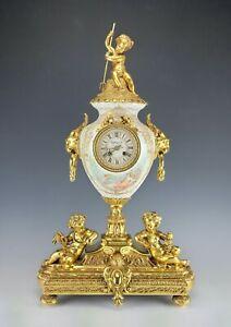 Large Superb 19C Tiffany & Co Porcelain Gilt Bronze Clock