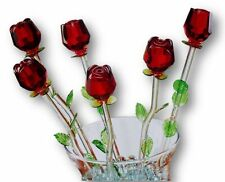 6 Red Flowers, Bouquet 6 Glass Roses with Green Leaves, valentines mothers day!