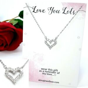 Love You 925 Sterling Silver Heart Necklace Diamante Crystals Love Gift for Her