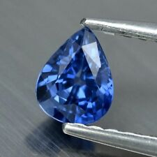 lean! 0.40ct 5x4mm VVS Pear Natural Medium Blue Sapphire Ceylon Video #65
