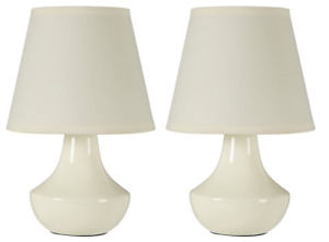 Ceramic Bedside Lamp - Set of 2, Cream, Contemporary, Elegant Design, Charming