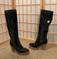 EUC ANNA SUI Black Patent Leather Boots EU 35 / US 5 rare vintage Italy luxury