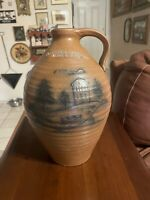 Crocker & Springer Double Handle Glazed Stoneware Blue Scenery Pottery Jug Crock