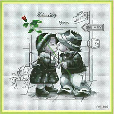 Cute Black & White counted Cross Stitch kits Ruyi everything included NEW