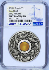 2018 P Tuvalu Good Luck Rotating Charm ANTIQUED 1Oz Silver $1 COIN NGC MS70 ER