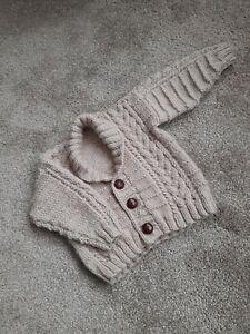 Baby Boy Hand knitted Aran cardigan  beige 12-18months 24inch chest