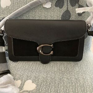 ❤Coach Tabby 5601 Pewter/Black Shoulder Bag 26 Suede Leather Bead Chain
