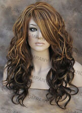 HEAT SAFE WAVY Long Skin Top Chestnut Brown Blonde Mix Wig WBGA 8-12