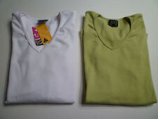 NWT: Set of 2 BELLY BUTTON MATERNITY Cotton V-Neck Tops, White & Green, Small