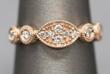 Dainty 0.30ctw Diamond Pave 14K Rose Gold Stacking Stackable Band Ring