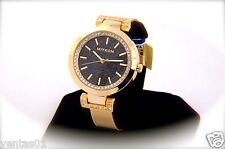 Gold Collection Watch with Black Sparkling Dial & Crystal Accented Design 30M